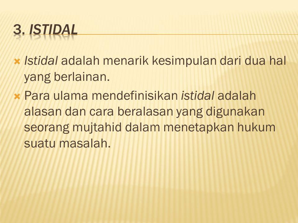 3. Istidal Istidal adalah menarik kesimpulan dari dua hal yang berlainan.
