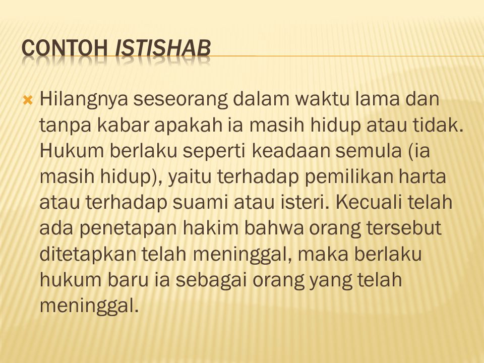 Contoh istishab