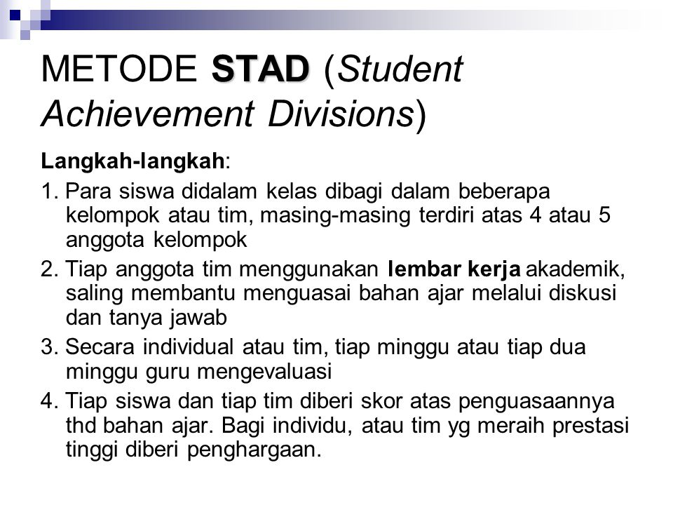METODE STAD (Student Achievement Divisions)