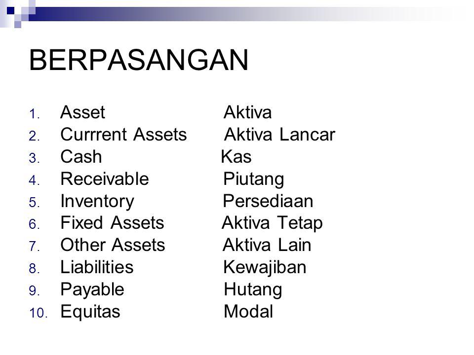 BERPASANGAN Asset Aktiva Currrent Assets Aktiva Lancar Cash Kas