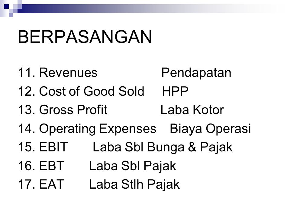 BERPASANGAN 11. Revenues Pendapatan 12. Cost of Good Sold HPP