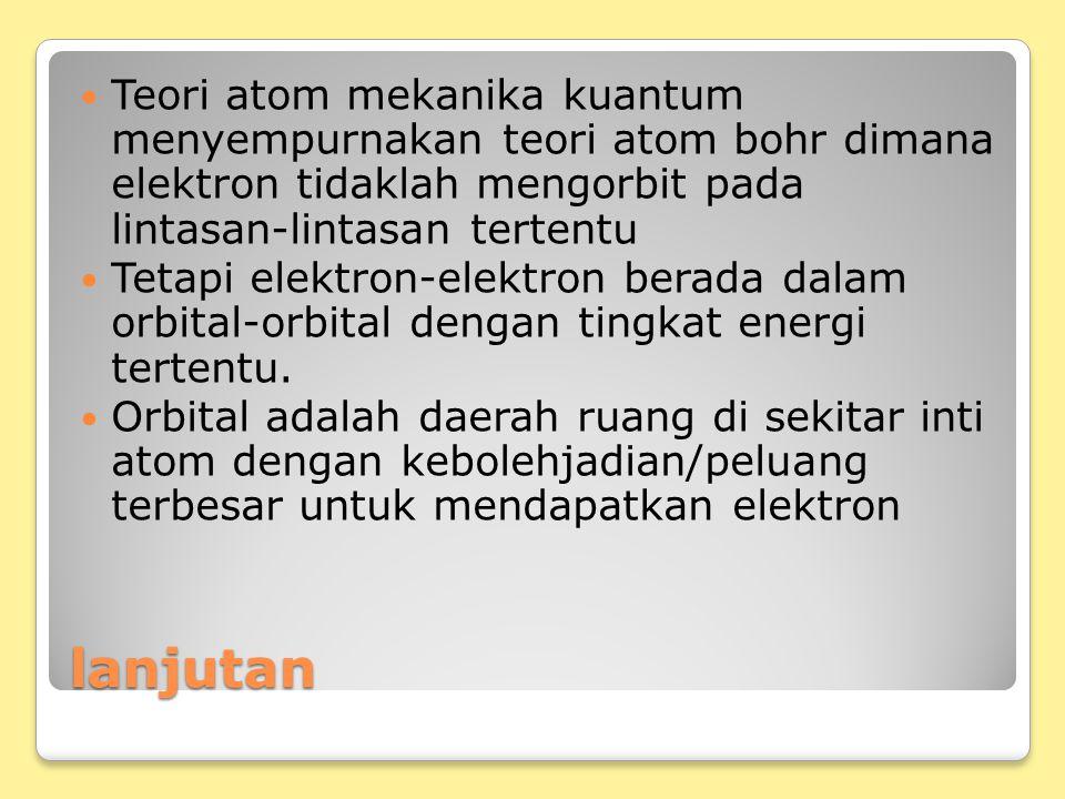 Teori atom mekanika kuantum menyempurnakan teori atom bohr dimana elektron tidaklah mengorbit pada lintasan-lintasan tertentu