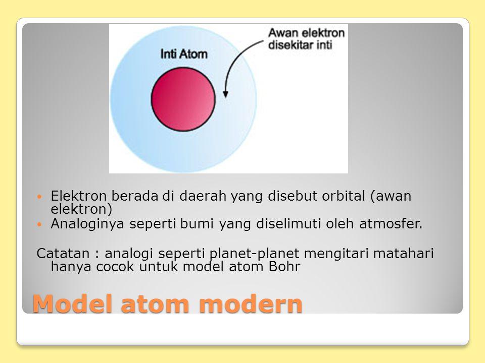 Elektron berada di daerah yang disebut orbital (awan elektron)