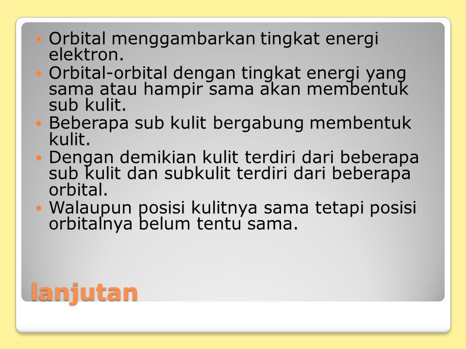 lanjutan Orbital menggambarkan tingkat energi elektron.