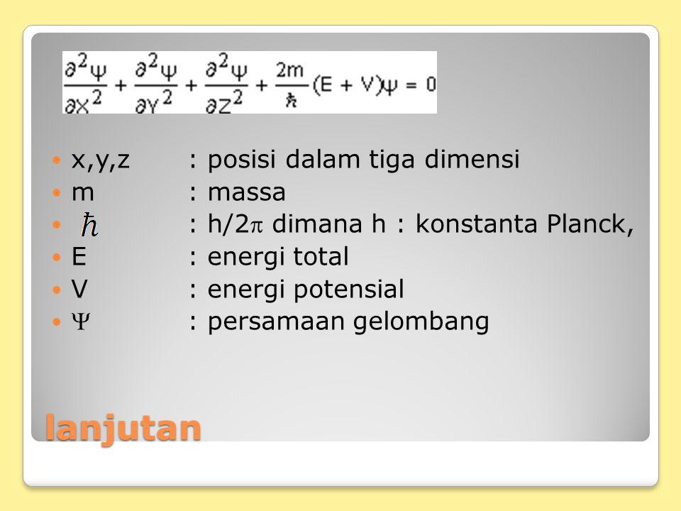 lanjutan x,y,z : posisi dalam tiga dimensi m : massa