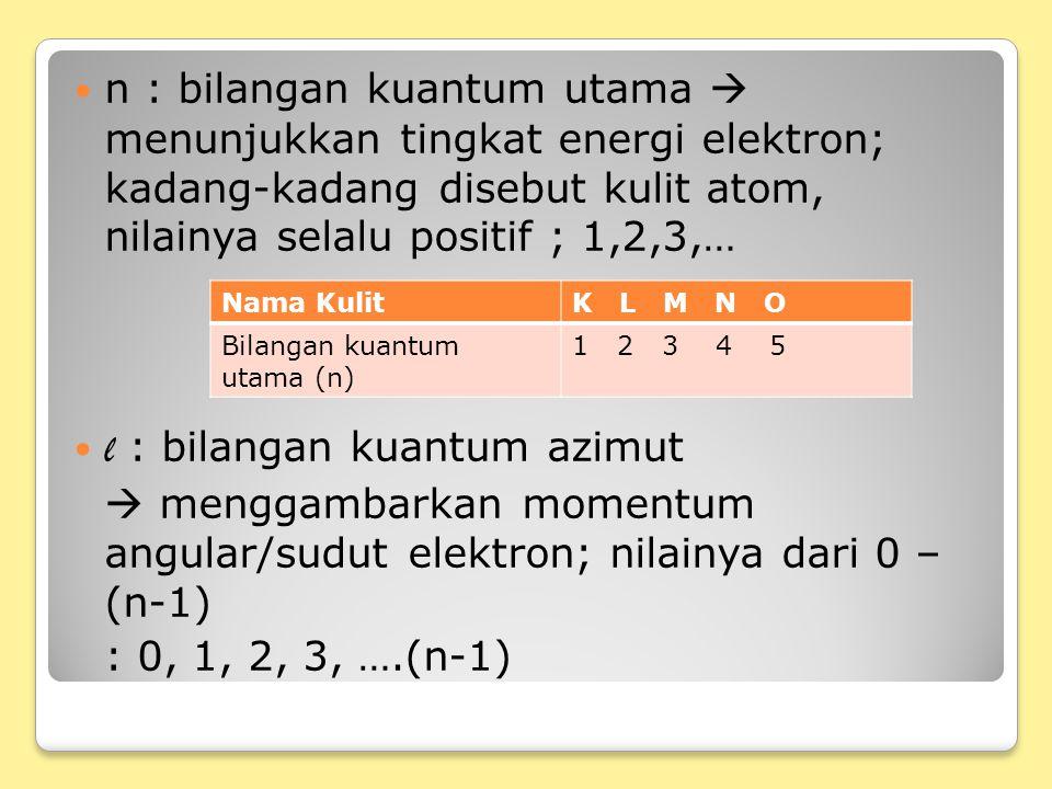 l : bilangan kuantum azimut