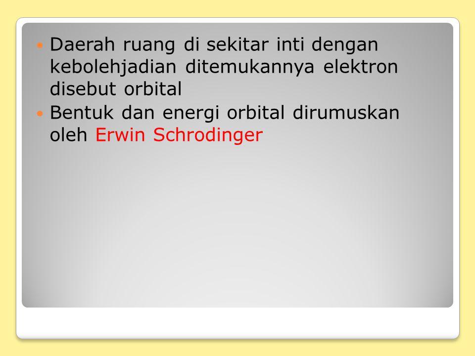 Daerah ruang di sekitar inti dengan kebolehjadian ditemukannya elektron disebut orbital