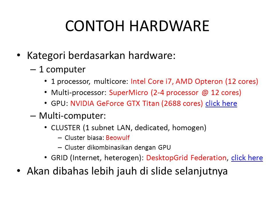 CONTOH HARDWARE Kategori berdasarkan hardware: