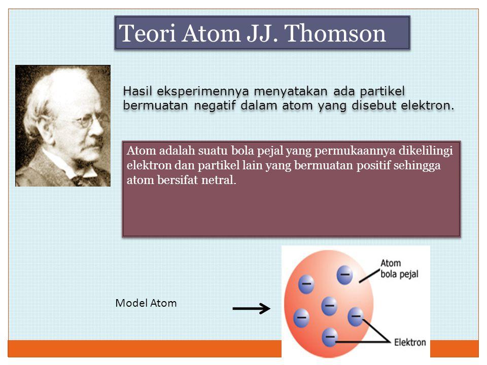Teori Atom JJ. Thomson Hasil eksperimennya menyatakan ada partikel bermuatan negatif dalam atom yang disebut elektron.