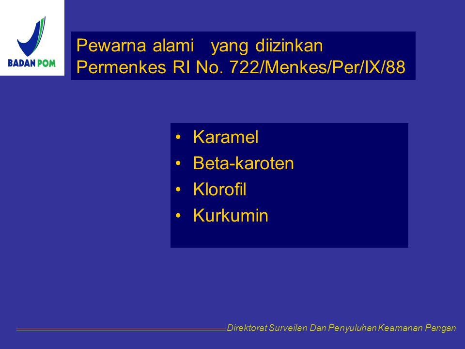 Pewarna alami yang diizinkan Permenkes RI No. 722/Menkes/Per/IX/88