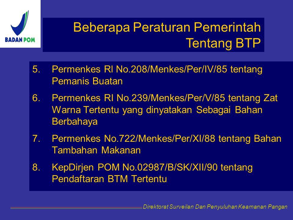 Beberapa Peraturan Pemerintah Tentang BTP