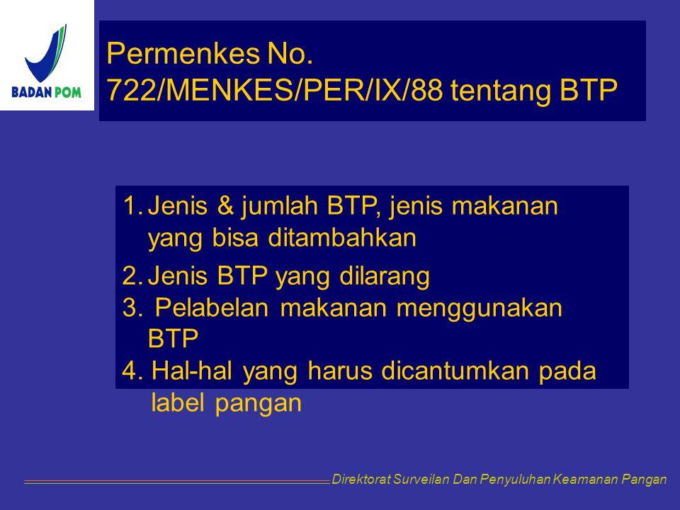 Permenkes No. 722/MENKES/PER/IX/88 tentang BTP