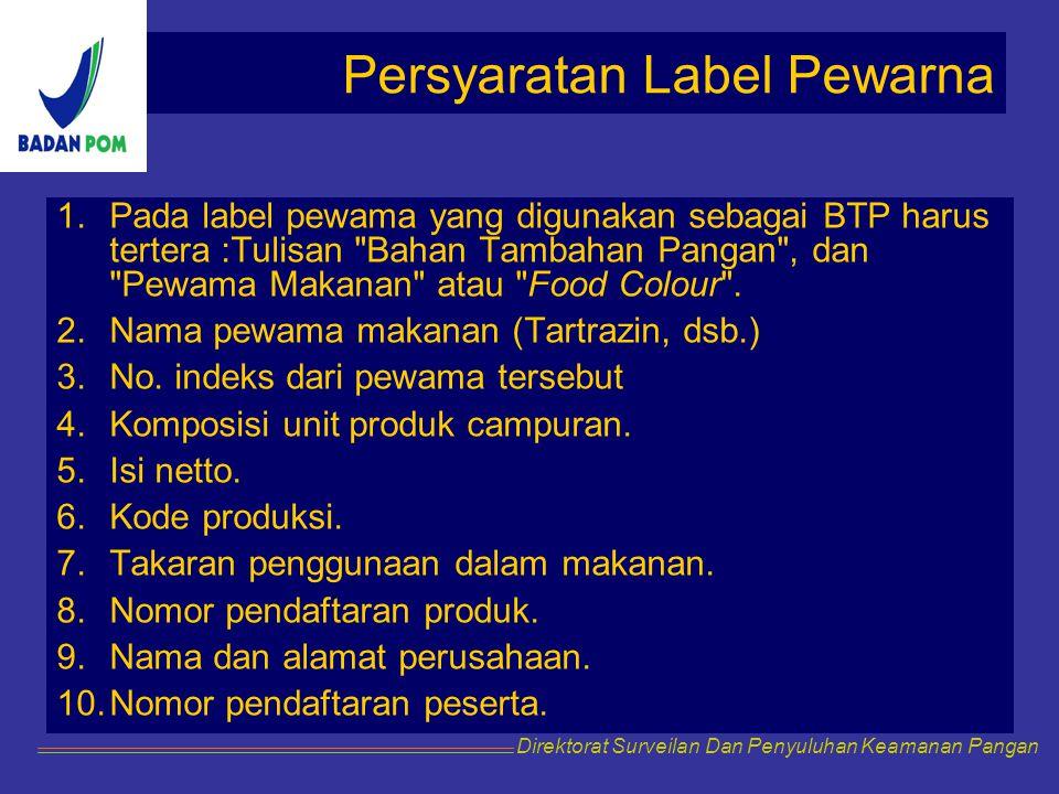 Persyaratan Label Pewarna