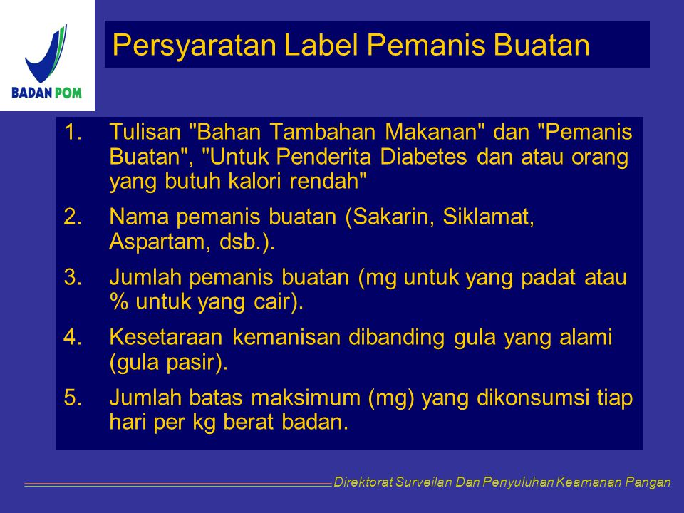 Persyaratan Label Pemanis Buatan