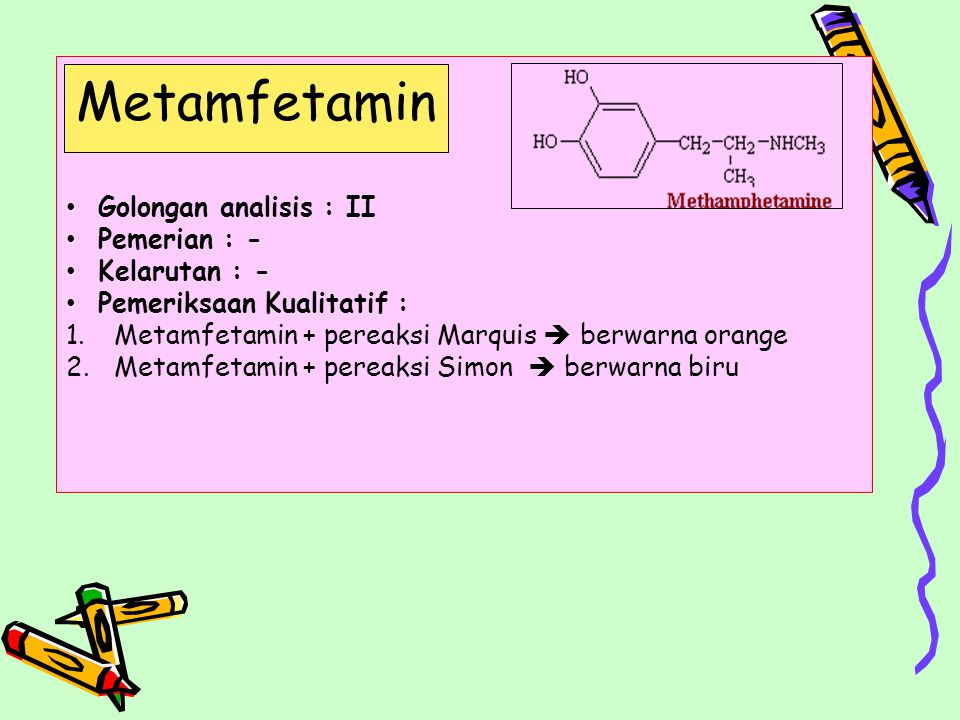 Metamfetamin Golongan analisis : II Pemerian : - Kelarutan : -