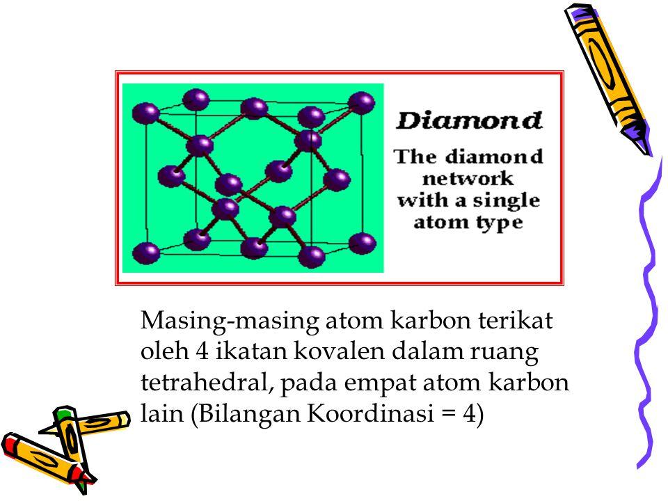 Masing-masing atom karbon terikat oleh 4 ikatan kovalen dalam ruang tetrahedral, pada empat atom karbon lain (Bilangan Koordinasi = 4)