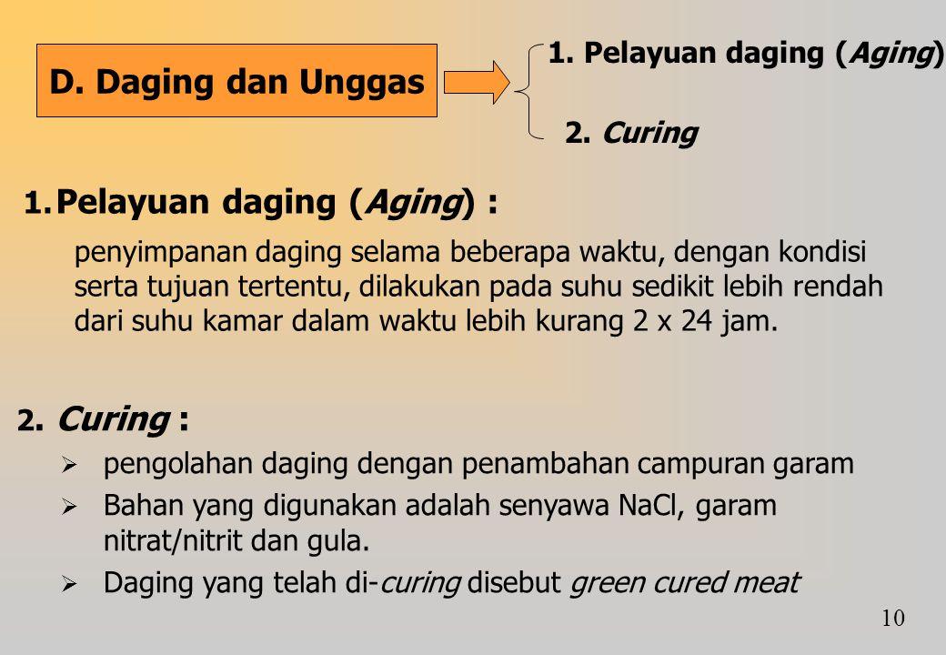 Pelayuan daging (Aging) :