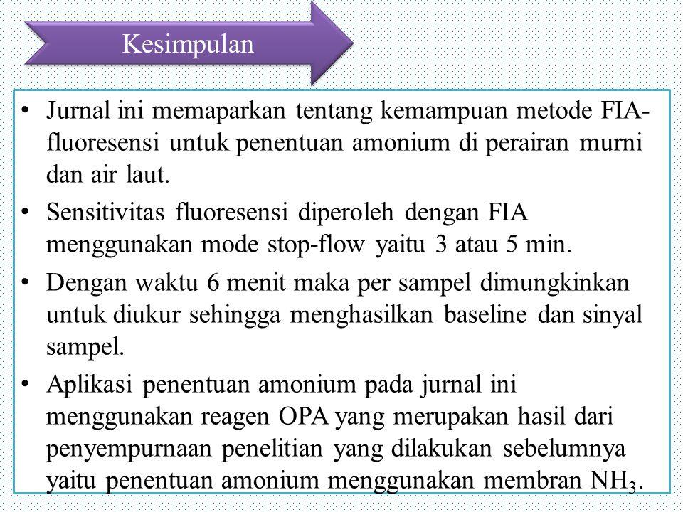 Kesimpulan Jurnal ini memaparkan tentang kemampuan metode FIA-fluoresensi untuk penentuan amonium di perairan murni dan air laut.