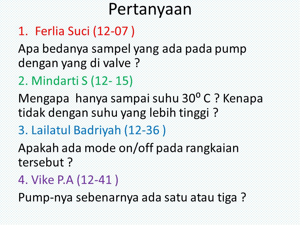 Pertanyaan Ferlia Suci (12-07 )