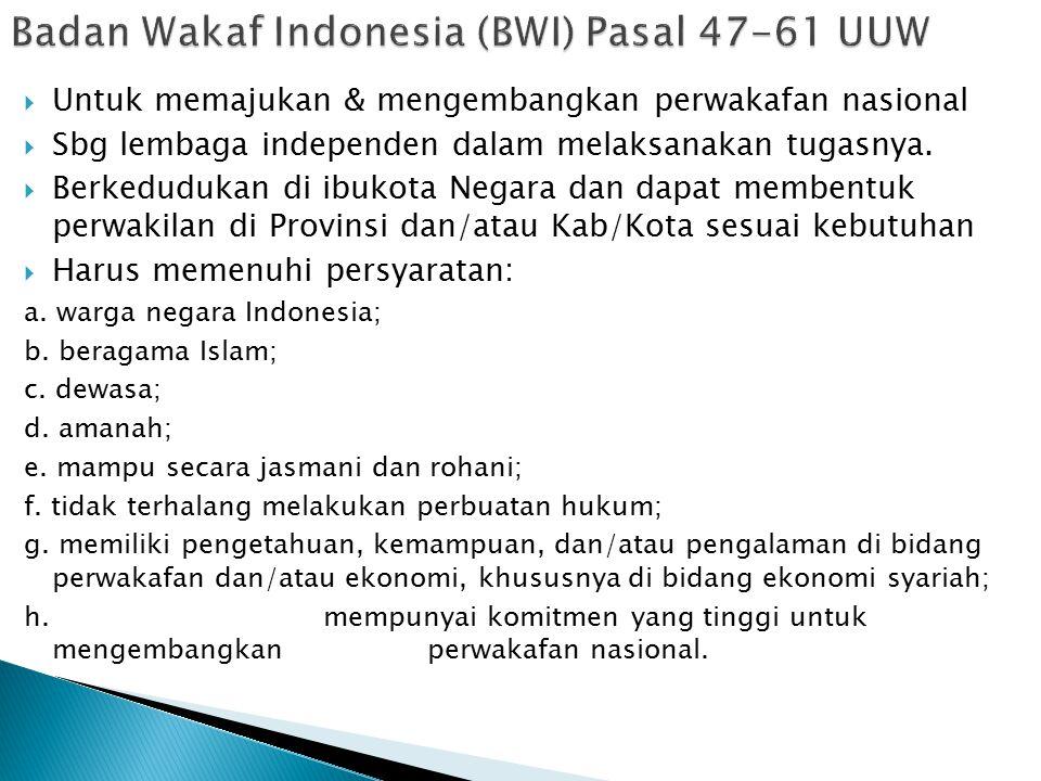 Badan Wakaf Indonesia (BWI) Pasal 47-61 UUW