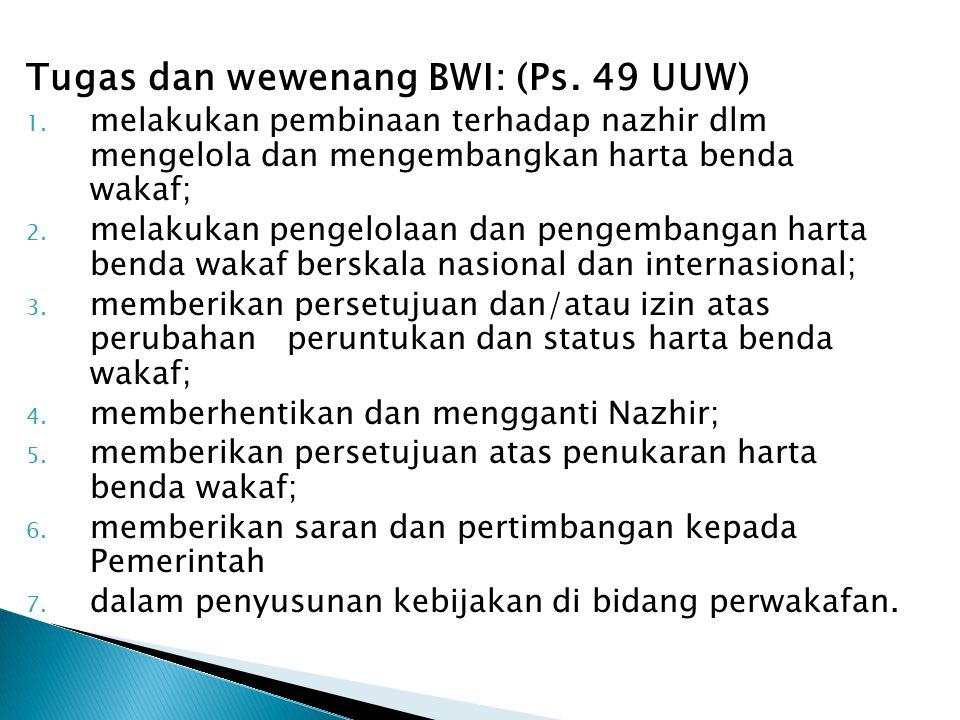 Tugas dan wewenang BWI: (Ps. 49 UUW)