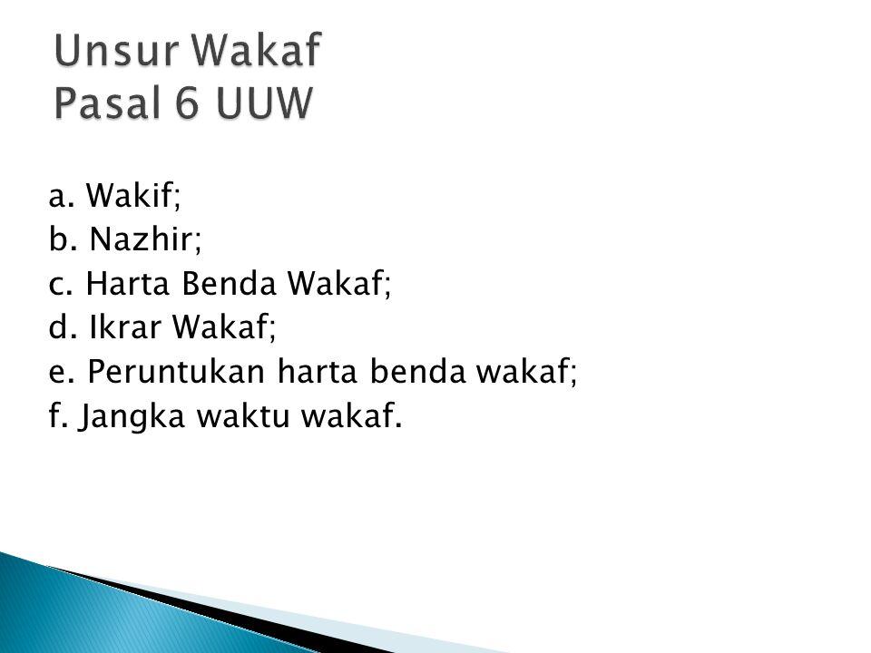 Unsur Wakaf Pasal 6 UUW a. Wakif; b. Nazhir; c.