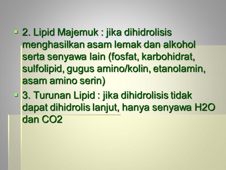 2. Lipid Majemuk : jika dihidrolisis menghasilkan asam lemak dan alkohol serta senyawa lain (fosfat, karbohidrat, sulfolipid, gugus amino/kolin, etanolamin, asam amino serin)