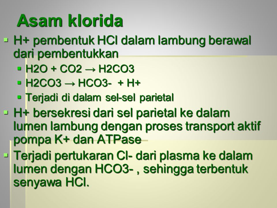 Asam klorida H+ pembentuk HCl dalam lambung berawal dari pembentukkan