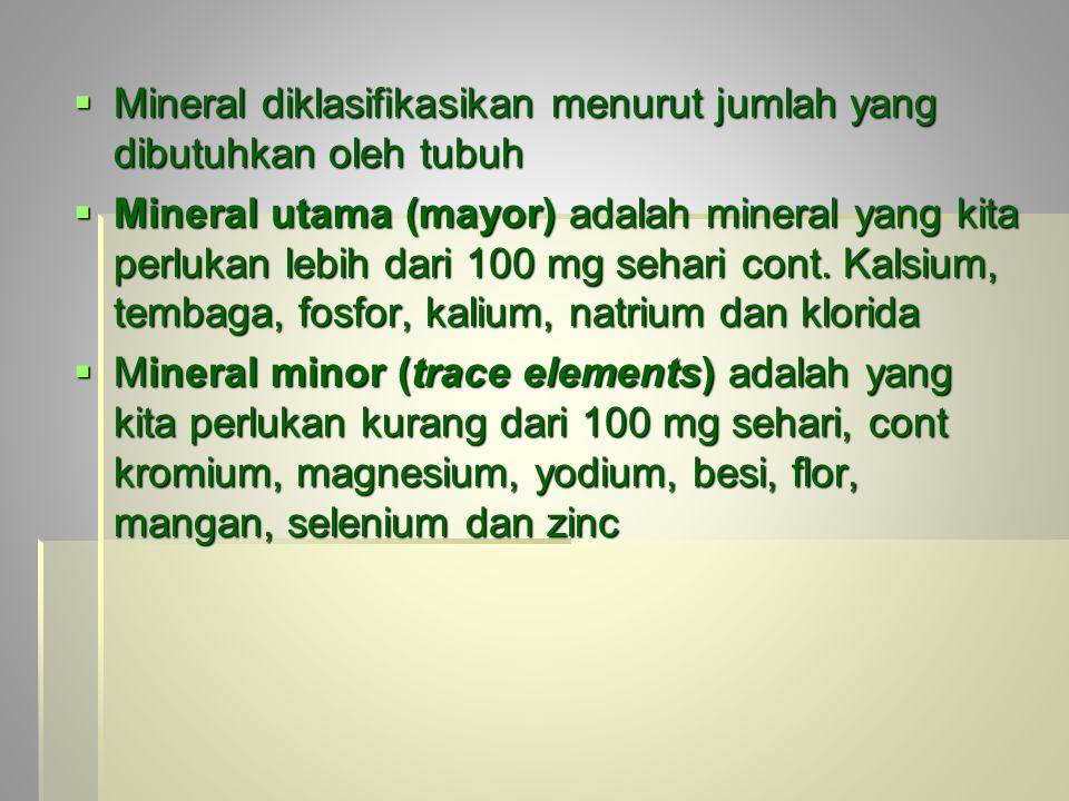 Mineral diklasifikasikan menurut jumlah yang dibutuhkan oleh tubuh