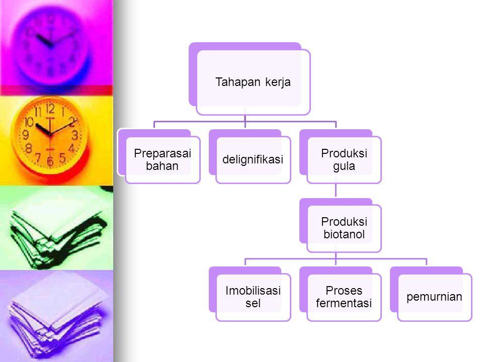 Tahapan kerja Preparasai bahan. delignifikasi. Produksi gula. Produksi biotanol. Imobilisasi sel.