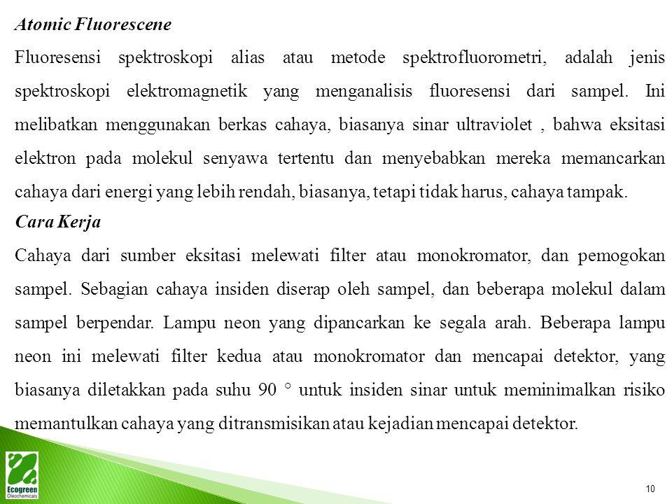 Atomic Fluorescene Fluoresensi spektroskopi alias atau metode spektrofluorometri, adalah jenis spektroskopi elektromagnetik yang menganalisis fluoresensi dari sampel.