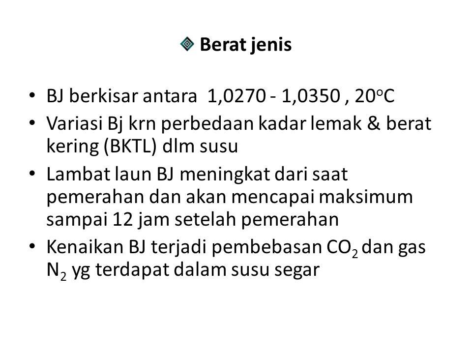 Berat jenis BJ berkisar antara 1,0270 - 1,0350 , 20oC. Variasi Bj krn perbedaan kadar lemak & berat kering (BKTL) dlm susu.