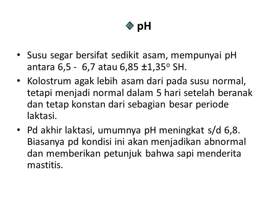 pH Susu segar bersifat sedikit asam, mempunyai pH antara 6,5 - 6,7 atau 6,85 ±1,35o SH.