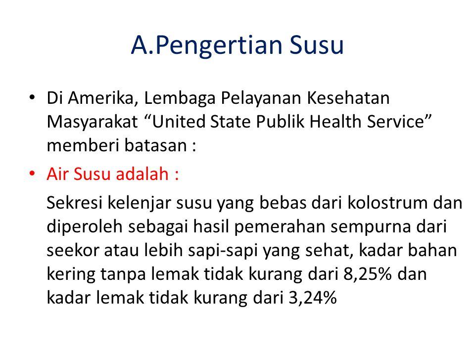 A.Pengertian Susu Di Amerika, Lembaga Pelayanan Kesehatan Masyarakat United State Publik Health Service memberi batasan :