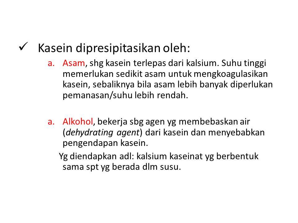 Kasein dipresipitasikan oleh: