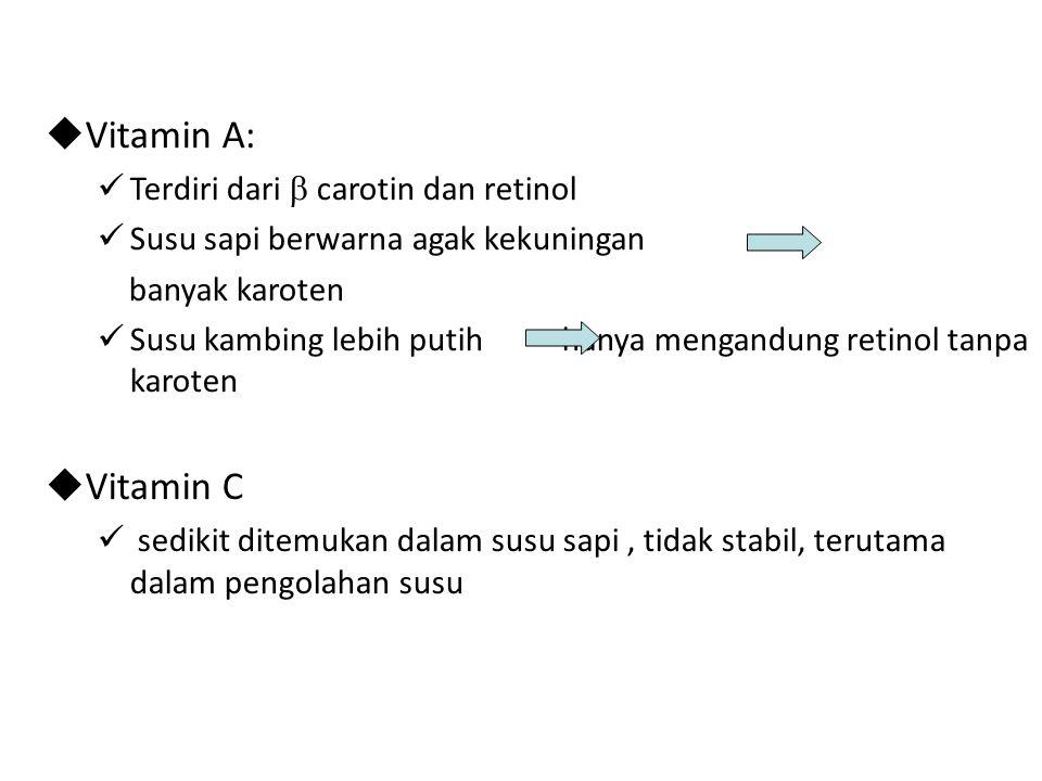 Vitamin A: Vitamin C Terdiri dari  carotin dan retinol
