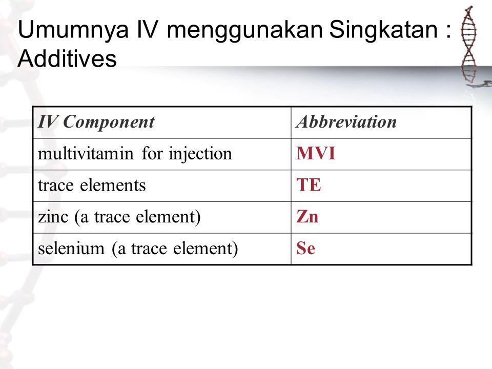 Umumnya IV menggunakan Singkatan : Additives