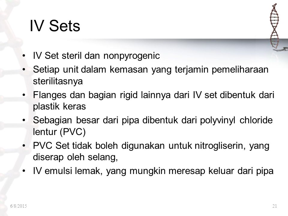 IV Sets IV Set steril dan nonpyrogenic