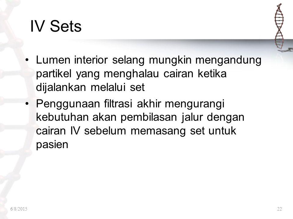IV Sets Lumen interior selang mungkin mengandung partikel yang menghalau cairan ketika dijalankan melalui set.