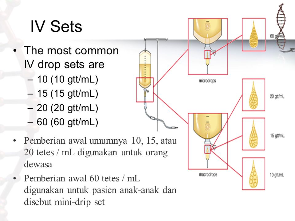 IV Sets The most common IV drop sets are 10 (10 gtt/mL) 15 (15 gtt/mL)