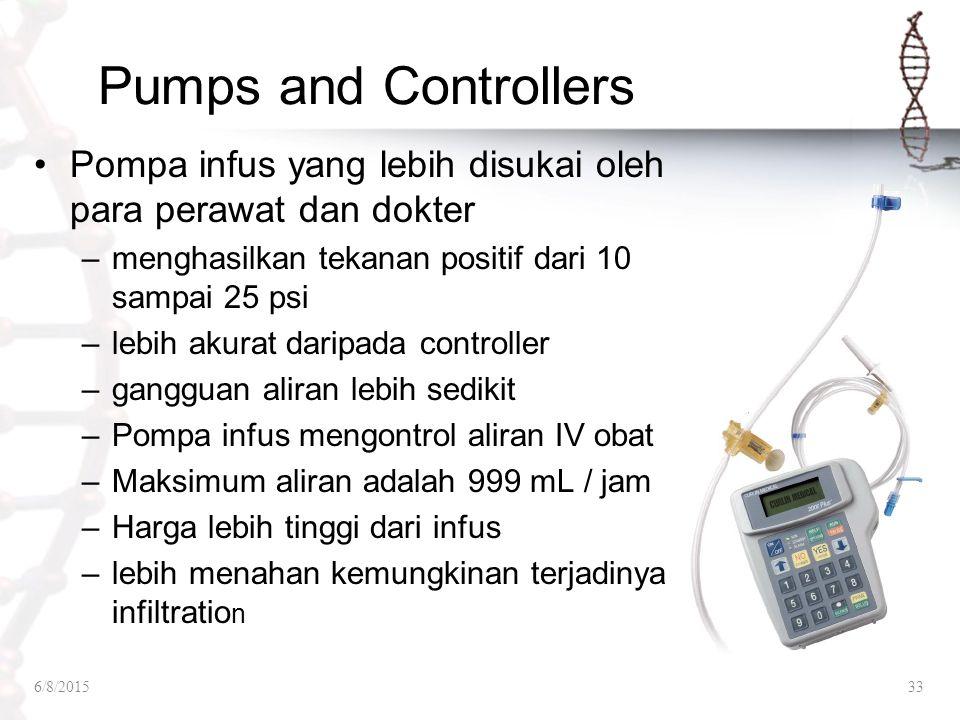 Pumps and Controllers Pompa infus yang lebih disukai oleh para perawat dan dokter. menghasilkan tekanan positif dari 10 sampai 25 psi.