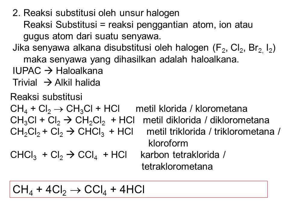 CH4 + 4Cl2  CCl4 + 4HCl Reaksi substitusi oleh unsur halogen
