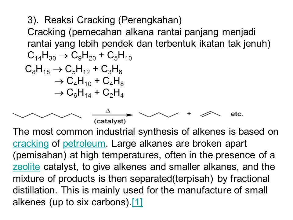 3). Reaksi Cracking (Perengkahan)