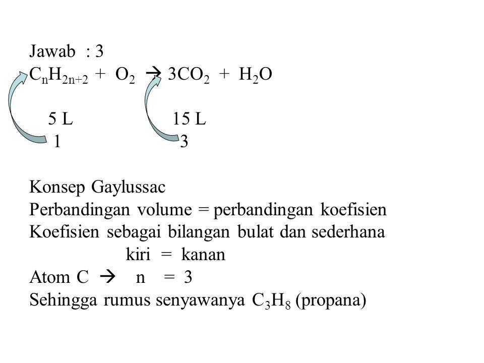 Jawab : 3 CnH2n+2 + O2  3CO2 + H2O. 5 L 15 L. 1 3.