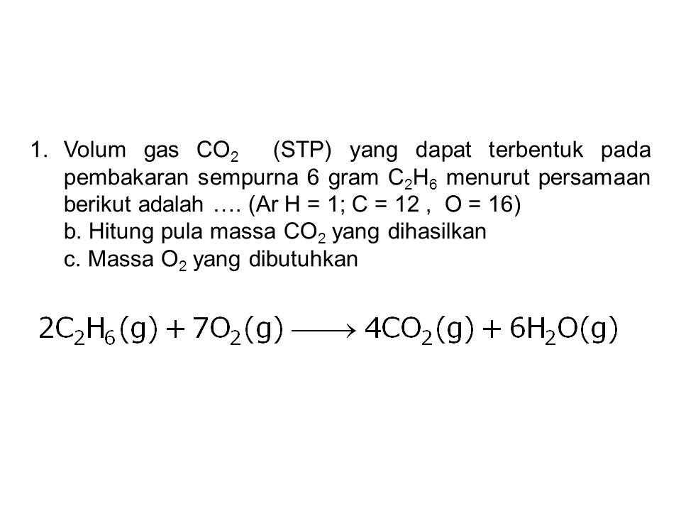 Volum gas CO2 (STP) yang dapat terbentuk pada pembakaran sempurna 6 gram C2H6 menurut persamaan berikut adalah …. (Ar H = 1; C = 12 , O = 16)