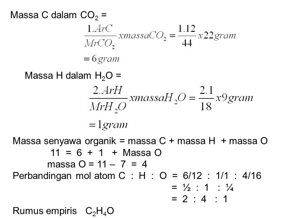 Massa C dalam CO2 = Massa H dalam H2O = Massa senyawa organik = massa C + massa H + massa O. 11 = 6 + 1 + Massa O.