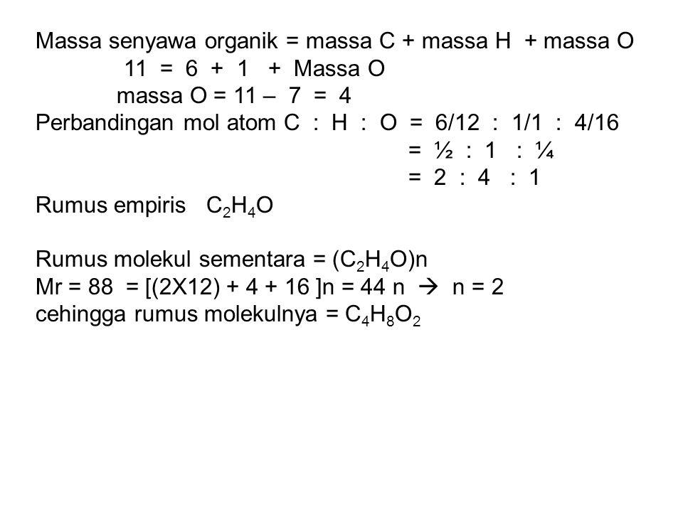 Massa senyawa organik = massa C + massa H + massa O