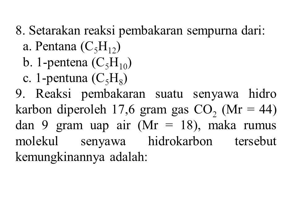 8. Setarakan reaksi pembakaran sempurna dari: