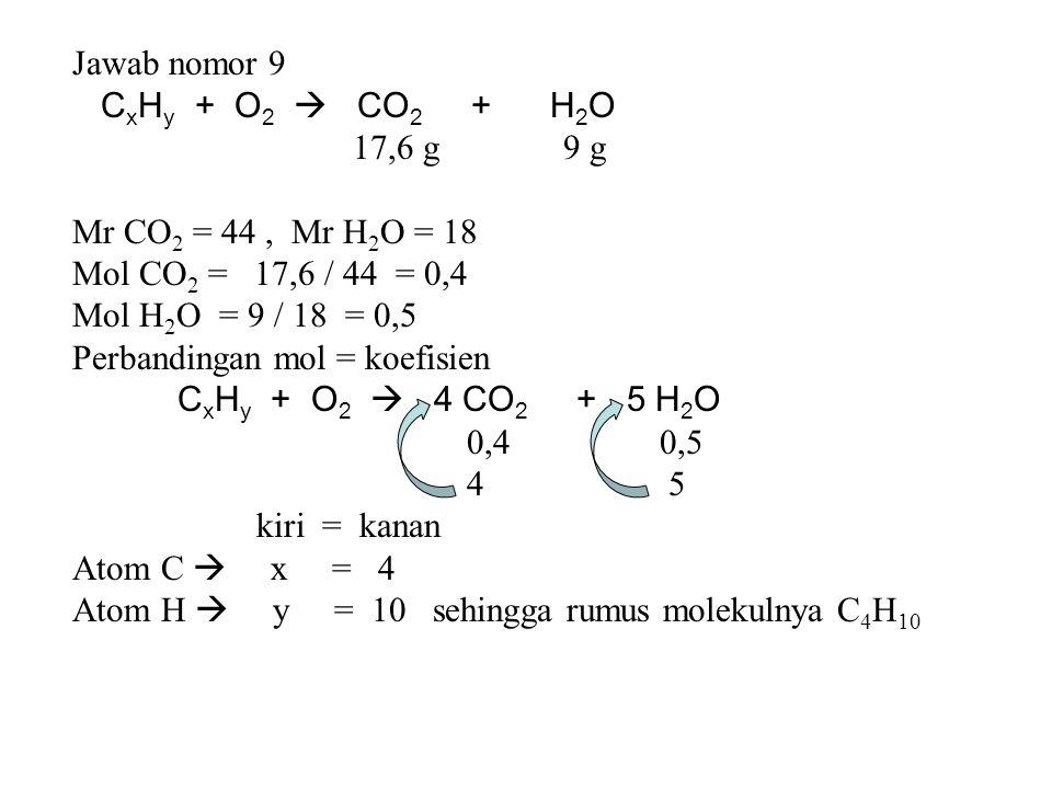 Jawab nomor 9 CxHy + O2  CO2 + H2O. 17,6 g 9 g. Mr CO2 = 44 , Mr H2O = 18.