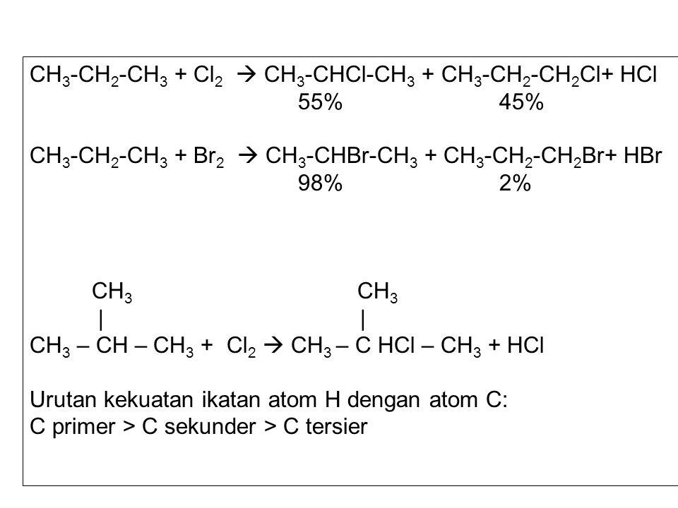 CH3-CH2-CH3 + Cl2  CH3-CHCl-CH3 + CH3-CH2-CH2Cl+ HCl